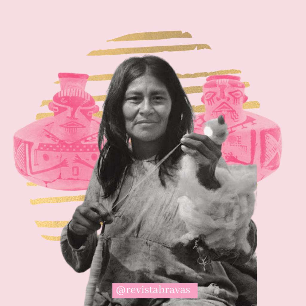 Imagen rosada con una mujer diaguita y tras de ella, dos artesanía, para nota de revista bravas sobre mujeres diaguitas.