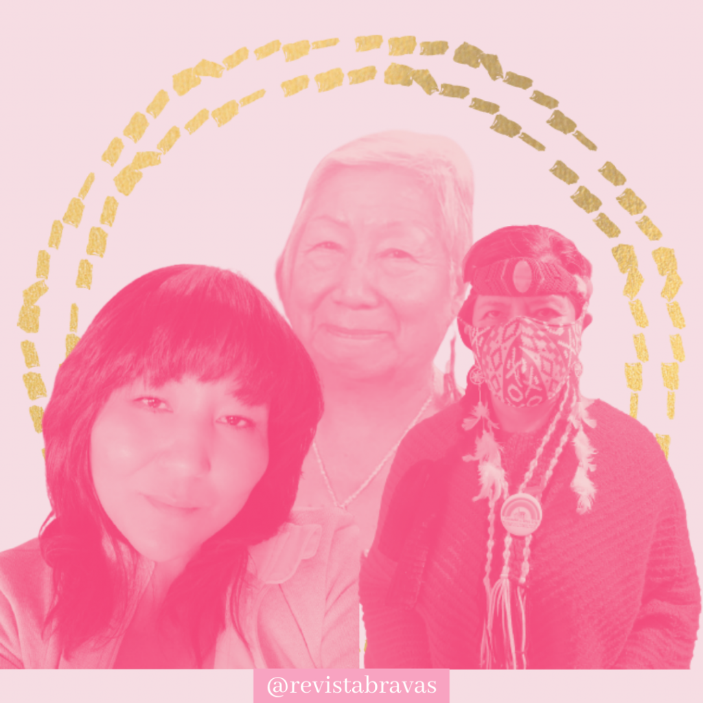 Imagen rosada que incluye a las tres entrevistadas mujeres diaguitas. Desde la izquierda a la derecha: Loreley Yevenes, Esmeralda Ramos y Kiriath Campillay.